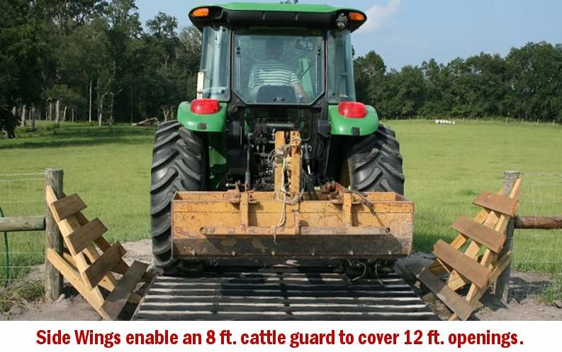 A single Cattle Guard Form will cover up to 12 ft. openings by using wings on the side of the cattle guard.